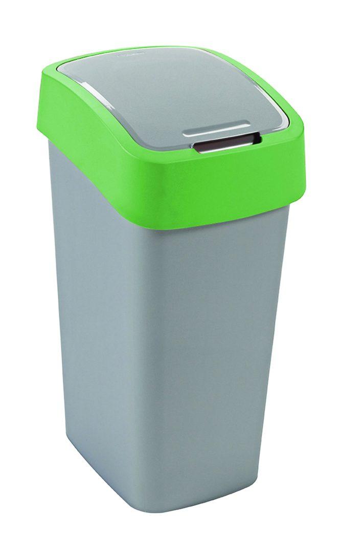 Odpadkový koš FLIP BIN 50l stříbrný/zelený