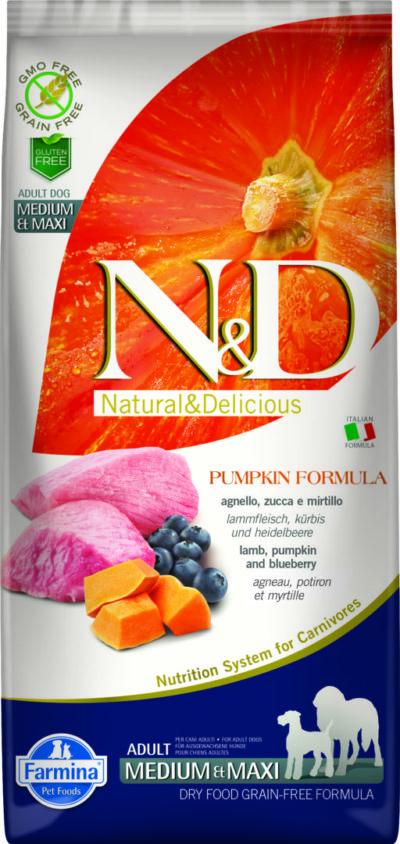 ND Grain Free PUMPKIN 12kg Adult Medium&Maxi LAMB [3D_Front]@print