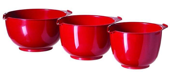Set 3 šlehacích mís červený