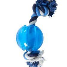 Hračka pes BUSTER Strong Ball s provazem sv. modrá