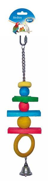Hračka pták dřevo - kostky + zvonek akrobat Duvo+ 38 cm