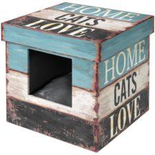 """Domek cat dřevo - Krabice """"Home cats Love"""" D&D 35 x 35 x 35 cm"""