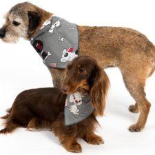 """Šátek bavlna""""Falco""""zavazovací potisk psi šedý L"""