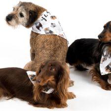 """Šátek bavlna""""Falco"""" zavazovací potisk psi bílý M"""