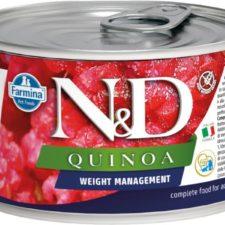 N&D QUINOA Dog konz. Weight Mnmgmt Lamb & Brocolli Mini 140 g