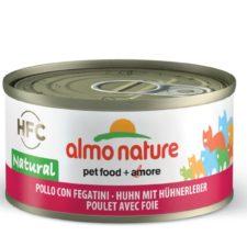Almo Nature HFC WET CAT- Kuře a játra 70g výhodné balení 24ks