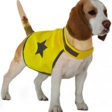 Reflexní vesta pro psa 48cm látková žlutá Duvo+