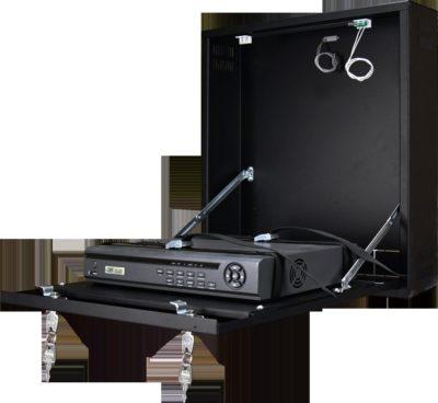 Uzamykatelná skříňka na zeď pro malé DVR / NVR rekordéry (černá)